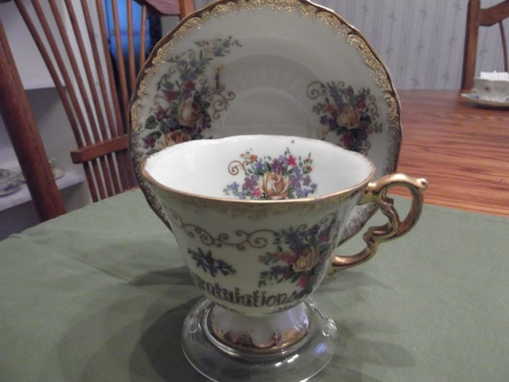 50% OFF-  Congratulations cup and saucer-  351