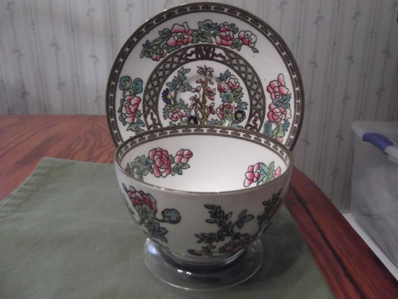 CLEARANCE Sale- Handpainted Handleless Coalport cup and saucer with Indian tree pattern circa 1891-1920-  446