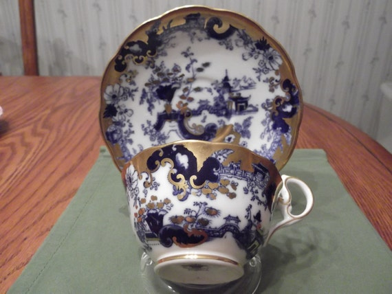 Rare Cobalt Blue Oriental scene cup and saucer by Royal Albert Crown China circa 1927 plus  -DR