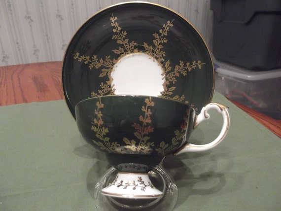 Footed green/gold cup and saucer by Aynsley circa 1950's-  DR