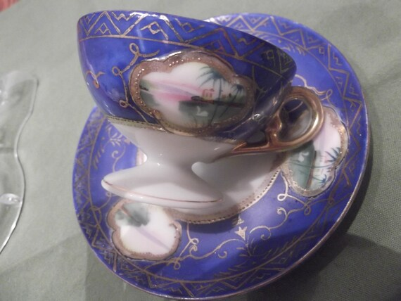 50% OFF-  Hand painted Demitasse cup and saucer made in occupied Japan -711