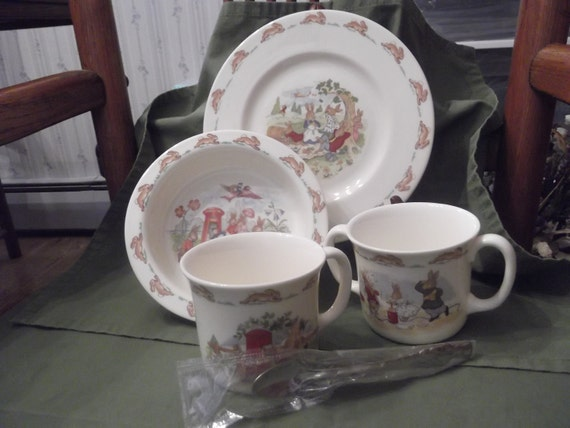 5 pc Child's Bunnykins breakfast/lunch set by Royal Doulton circa 1936- DR