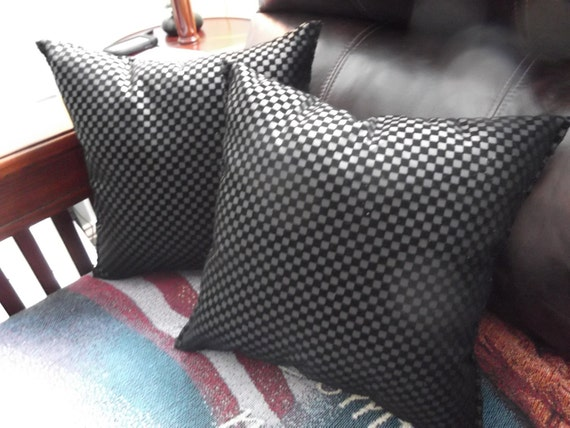 "Throw Pillow set: A Pair of 13"" x 13"" Black Faux Leather & Suede Pillows"
