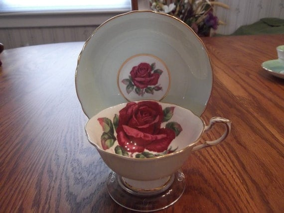 Signed Paragon cup & saucer by R Johnson with gold rims - circa 1939-1949    DR