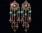 Long Bronze Floral Mint and Purple Glass Bohemian Arabesque Chandelier Earrings- Gothic Victorian MTO