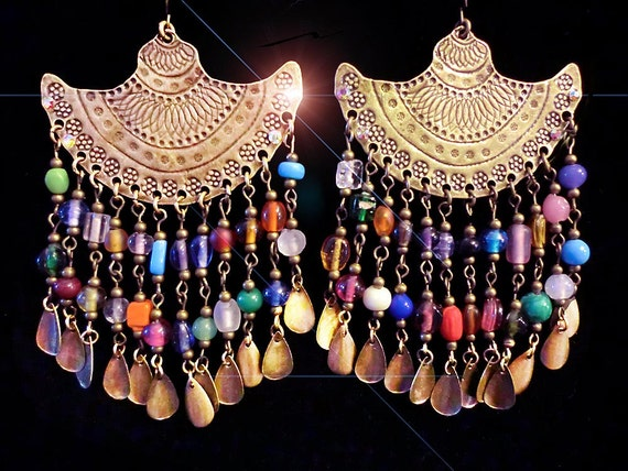 Funky Large Flared Antique Brass Pendulum Skirt Chandelier Earrings with Rainbow Indian Glass Fringe