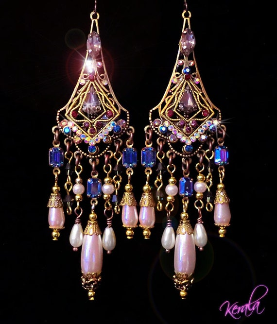 Royal Sapphire and Pearl Jeweled Renaissance Chandelier Earrings-Fancy, Elegant, Victorian, Ornate