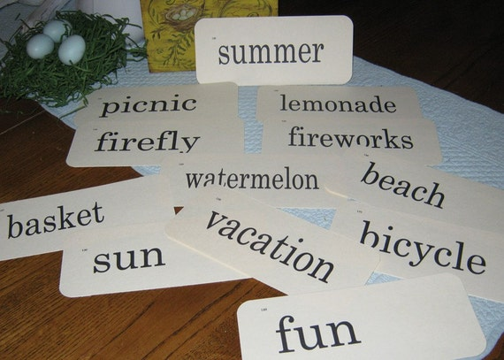 Flash Cards Vintage Look - Summer Theme - 12 count