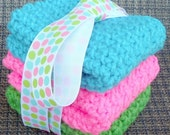 Crochet Dishcloths Washcloths - Turquoise Blue, Hot Pink, Lime Green - For Kitchen or Bathroom - Set of 3