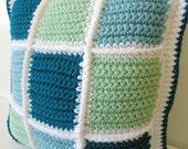 """Throw Pillow - FREE SHIPPING - Patchwork Quilt Design - Crochet - Handmade - 16""""x16"""" - Teal, Aqua, Honeydew Green, White"""