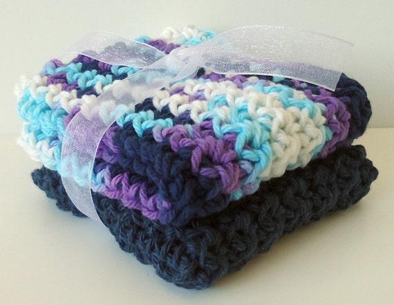 Crochet Dishcloths Washcloths - Set of 2 - For Kitchen or Bathroom - Navy Blue, Light Blue, Purple, White - 100% Cotton