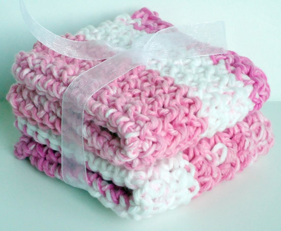 CLEARANCE - Crochet Washcloths Dishcloths - Set of 2 - For Kitchen or Bathroom - Pink & White - 100% Cotton