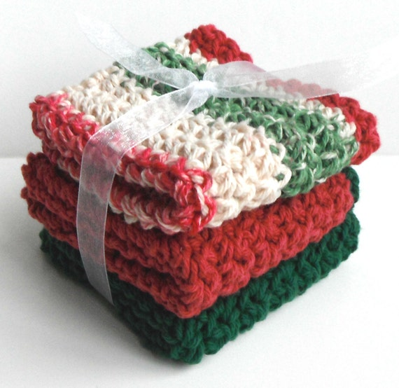 Crochet Dishcloths Washcloths - Set of 3 - For Kitchen or Bathroom - Holiday Red Christmas Green - 100% Cotton