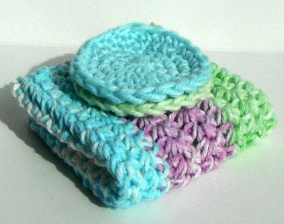 Crochet Dishcloth Washcloth - Sample Set 1 Cloth & 2 Scrubbies - For Kitchen or Bathroom - Aqua Blue, Green, Purple, White - 100% Cotton