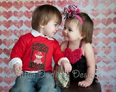 Boys Kissing Booth Appliqued Valentines Shirt