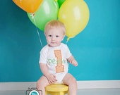 Custom Boys First Birthday Onesie or Shirt - Featuring an Appliqued Number One and Monogrammed Name
