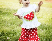Appliqued and Personalized Girls Watermelon Frill Shirt with Lime Polka Ruffle Ribbon Rind