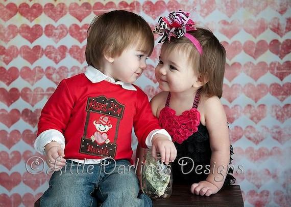 Boys Kissing Booth Appliqued Valentines Shirt