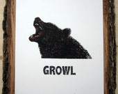 LAST ONE LEFT Grizzly Bear Growl - Silkscreen Print Limited Edition Animal Calls Series - Angry Bear