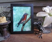 "Blue Bird Perched in a Teal Green Background - Framed Mixed Media Original - 7"" x 9"""