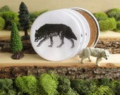 Wolf Coasters - Grey Wolf on the Prowl - Cork-Bottom