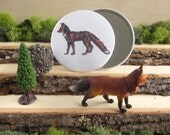 """Red Fox - Animal pocket mirror 3.5"""" - From Natural Duality"""