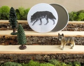 """Wolf - animal pocket mirror 3.5"""" - from Natural Duality"""