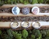 "Owl Pins - Owl Buttons - Three Wise Owls - Bird Pins - Saw-Whet Owl, Barn Owl, Horned Owl - Set of Bird Pinback Button Badges - 1.5"""