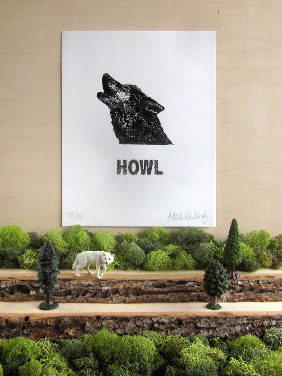 Howling Wolf Print - Silkscreen- Limited Edition - Animal Calls Series - Howl