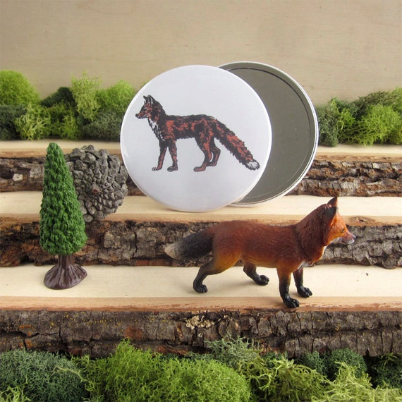 "Red Fox - Animal pocket mirror 3.5"" - From Natural Duality"