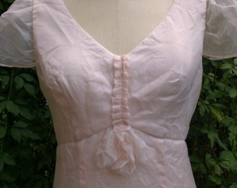 Lady Like Luncheon Tea Party Wedding Bridesmaid Dress Great Gatsby in Petal Pink Silk Organza Ready to Ship size small