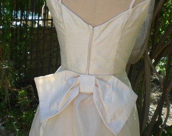 Special Price Vintage Inspired OOAK 1950's Silk Wedding Dress with Back Bow Detail Size Small Ready to Ship