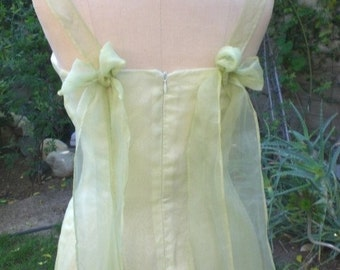 Sweetheart Neckline Princess Seams Bridal Luncheon, Garden Party Yellow Green Silk Wedding Dress, Bridesmaid Ready to Ship