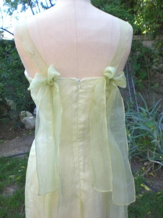 Sweetheart Neckline Princess Seams Bridal Luncheon, Garden Party Yellow Green Silk Wedding Dress, Bridesmaid Ready to Ship