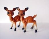 vintage deer big eye figurines- set of two