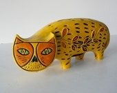 vintage paper mache yellow cat bank