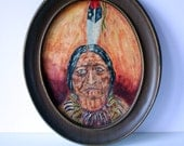 vintage painting original folk art portrait sitting bull: mighty finds