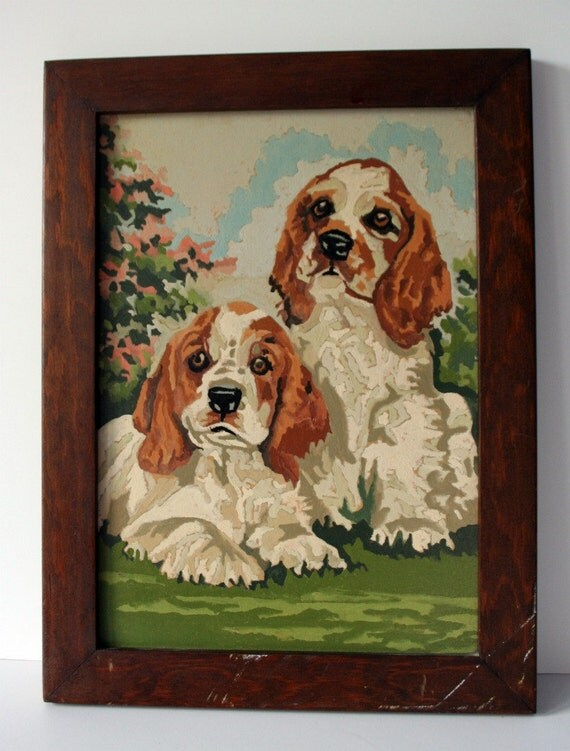 vintage spaniel paint by number framed: mighty finds