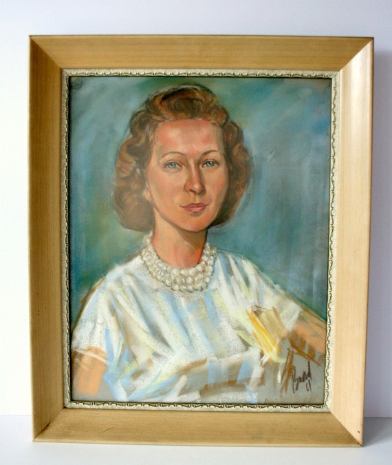 vintage portrait original antique painting- woman with pearls: mighty finds