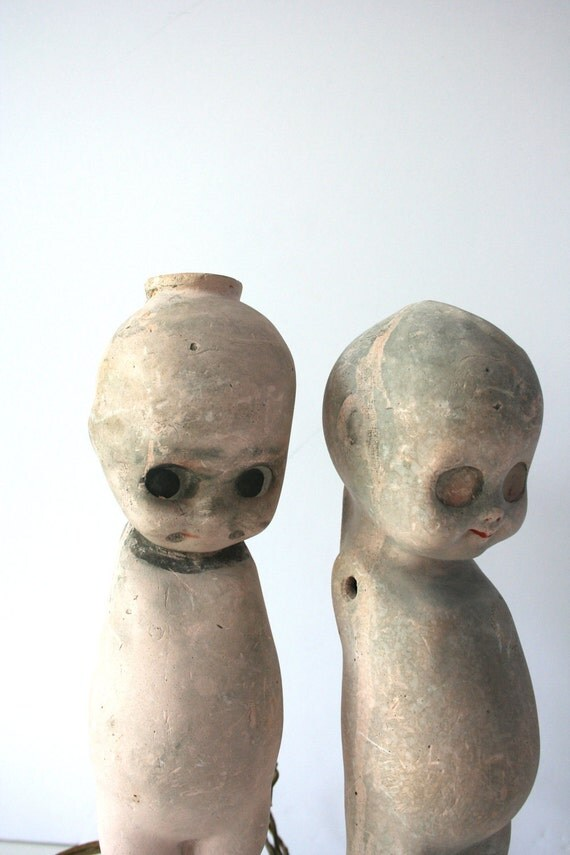 vintage chalkware kewpie dolls, set of 2