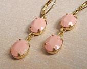 Gorgeous Light Pink Glass Earrings