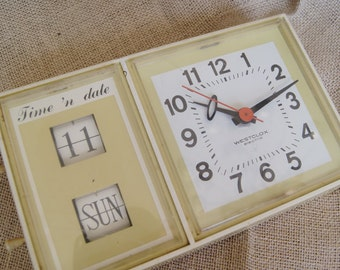 SALE Vintage Westclox Electric Time 'n Date Clock