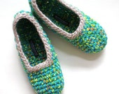Crochet Slippers for Women, Citrus Multicolour, Azure, French Blue, Teal Blue, One Of A Kind SIZE 7