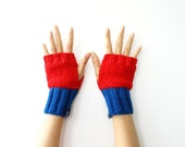Fingerless Gloves, Mittens, Wrist Warmers in Red Blue
