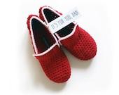 Red Crochet House Slippers, Unisex