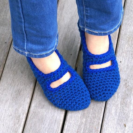 Crocheted Mary Jane House Slippers in Blue, Women's, House Shoes, Slipper Socks