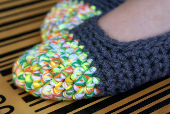 Crochet Slippers, Women's House Shoes, Grey & Neon