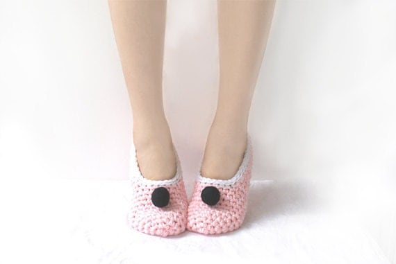 Last Pair SALE - Pink Crochet Slippers with Black Felted Embellishment