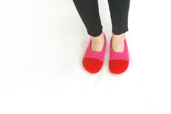 Crochet Slippers in Red and Hot Pink