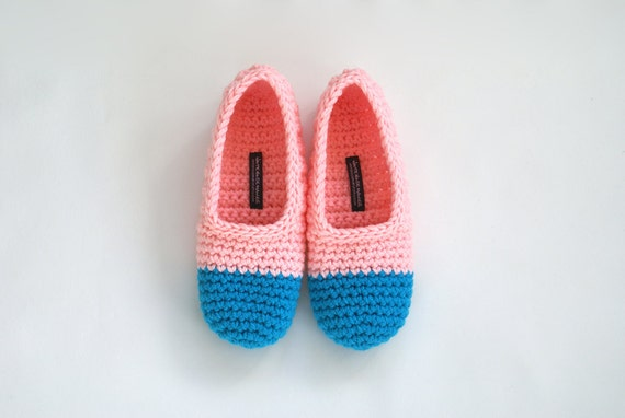 Last Pair SALE - Crochet Slippers in Baby Pink and Azure